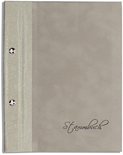 Preisvergleich Produktbild A5 Stammbuch der Familie -Koza-,  Creme,  Beige,  Grau,  feinstes Ornamentleder und Velours,  Familienstammbuch,  Din A5