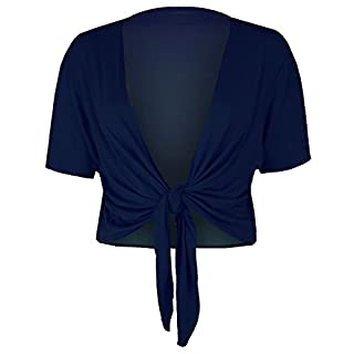 Oops Outlet Womens Short Sleeves Front Tie Knot Cardigan Bolero Wrap Shrug Crop Top