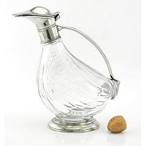 Flasche Dekanter Glas und Zinn geblasen. Für Wein und Spirituosen. Silber. Italienische Handwerkskunst . von großem Wert in Zeitobjekt