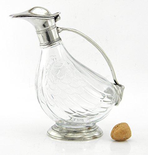 Flasche Dekanter Glas und Zinn geblasen. Für Wein und Spirituosen. Silber. Italienische Handwerkskunst . von großem Wert in Zeitobjekt (Zinn-wein-flasche)