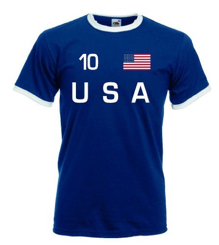Herren-usa 10 (world-of-shirt Herren T-Shirt USA Retro Shirt Nr.10|mb-xxl)