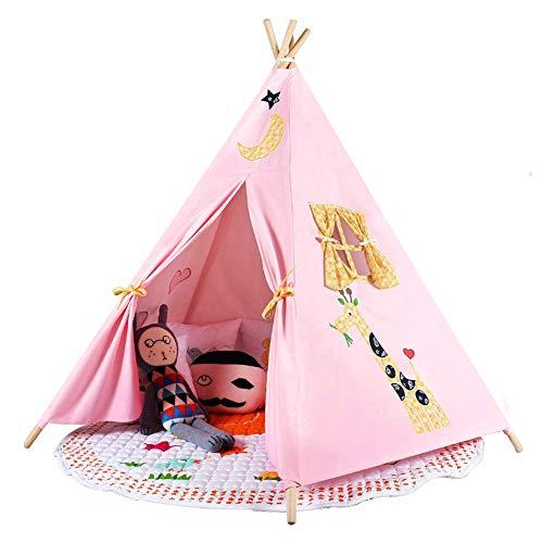 (Triclicks Tipi Spielzelt Teepee Zelt für Kinder - 100% Baumwolle Segeltuch Kinderzelt Indianer (Rosa Stil D))