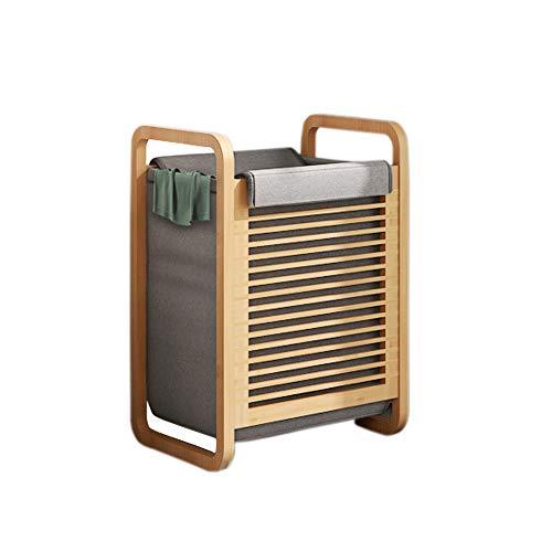 Bambus Wäschekorb natürliche abnehmbare waschbar schmutzige Hamper große Kapazität für Badezimmer Balkon (Wäschekorb-B40xT35xH60)
