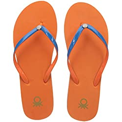 United Colors of Benetton Women's Orange Flip-Flops and House Slippers - 8 UK/India (42 EU)