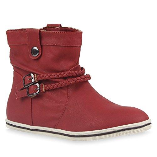 Sportliche Damen Stiefeletten Schnallen Zierknöpfe Flache Boots Schuhe 113614 Rot 40 | Flandell®