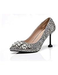 8cm Bomba Estilete Tacones altos Lentejuelas Diamante Sandalias Zapatos de boda Mujer Moda Dedo del pie puntiagudo...