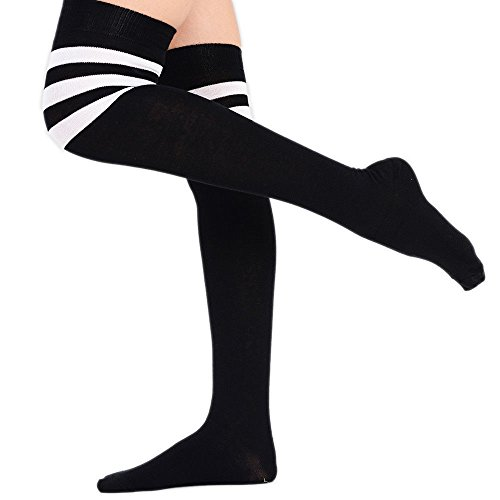 a4fbf70a185 Girls Striped Socks Womens Ladies Referee Striped Over The Knee High Socks  Cotton Sport Celebrity Inspired Fancy Dress (4-6