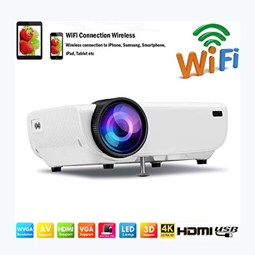 Ai LIFE Beamer Mini-LED-Projektor tragbar WiFi-Videoprojektoren 8000 Lumen für Smartphone/Wireless mit Bildschirm HD 1080P HDMI Multimedia 4K Home Office Handy Theater Film,Weiß