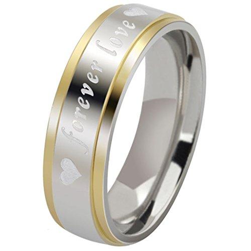 Anyeda Ring für Kettenanhänger Unisex Edelstahl Klassische Hochzeit Bands Forever Love Poliert 6Mm Ring mit Stein Größe 65 (20.7)