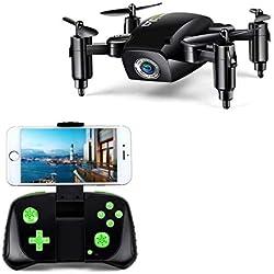 LBLA 1 RC Mini Drone Pliable pour Enfants/Adultes, Gyroscope 6 Axes avec télécommande à Distance Quadcopter HD WiFi Caméra FPV 2,4 GHz 8 Minutes de Temps de vol Noir