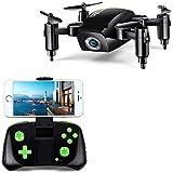 LBLA 1RC Pieghevole Mini, Drone Regalo per Bambini/Adulti, giroscopio a Assi con altitudine Hold Telecomando Quadcopter HD WiFi Telecamera FPV 2.4GHz, 8Minuti di Tempo di Volo, Nero
