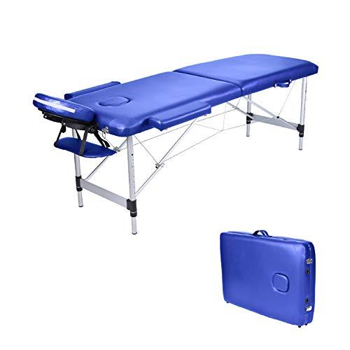 Wellhome lettino da massaggio 2 zone alluminio pieghevole portatile lettini massaggi professionale tavolo da massaggio tattoo fisioterapia con poggiatesta e bracciolo staccabile, borsa da trasporto xxl(blu)