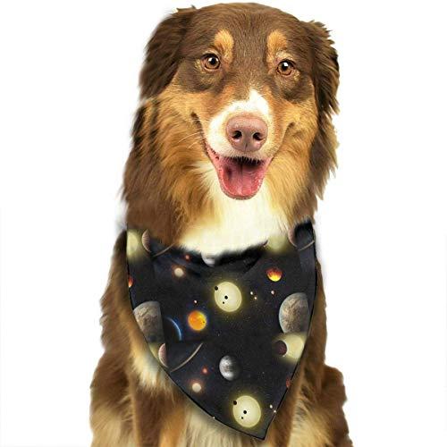Sdltkhy Space Planet Stars Fashion Dog Bandana Haustierzubehör Easy Wash Scarf -