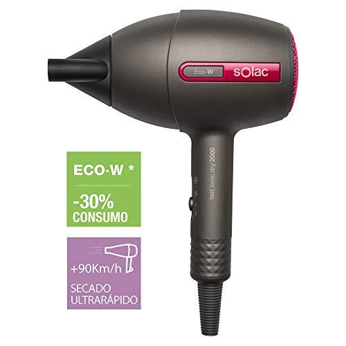 Solac SH7087 - Secador de Pelo Compacto con Tecnología Eco-W, 2000W, Iónico, Anti Encrespamiento