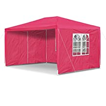 JOM 127295 Carpa de jardín, 3 x 4 m, con 4 paredes laterales, 3 ventanas y 1 puerta con cremallera, material PE 100G, rojo