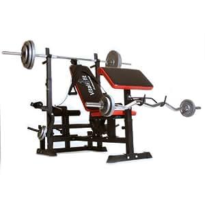 banc de musculation pliant 6 en 1 compris barre disques et poids d 39 exercice sports. Black Bedroom Furniture Sets. Home Design Ideas