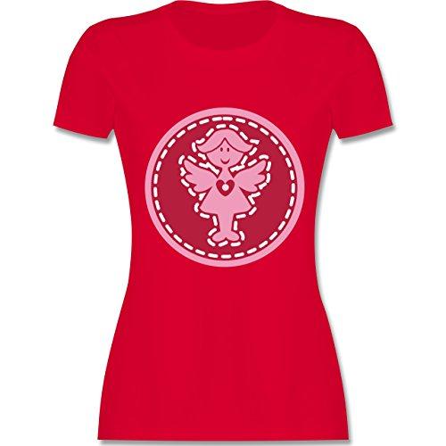 Typisch Frauen - Engel - tailliertes Premium T-Shirt mit Rundhalsausschnitt für Damen Rot