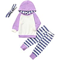 TPulling 3pcs Kleinkind Baby Boy Girl Kleidung Set Hoodie Tops + Pants + Stirnband Outfits