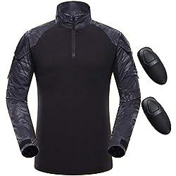 QMFIVE Chemise Tactique, Tactical Airsoft Camouflage Tee-Shirt Manches Longues à Manches Longues BDU avec Style Militaire
