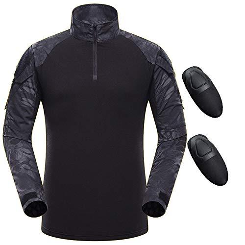 QMFIVE Taktisches Hemd Militärhemd, Airsoft Hemd Männer Langarm BDU Combat Camouflage Camo Kampf T-Shirt für Tactical Airsoft Paintball Armee -