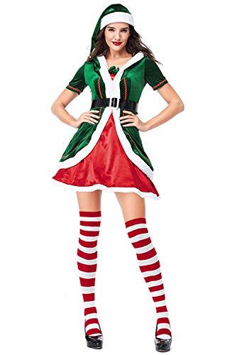 MingoTor Erwachsenenkostüm Elf Santas Helfer Kleid Cosplay Weihnachten Weihnachtshelfer Weihnachtswichtel Kostüm Damen Grün & Rot M