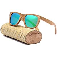 lzndeal Vintage Women Half Frame Bamboo Round Sunglasse Wooden SunglassesUV400 Polarized Lens Sun Glasses cIwjuCF7