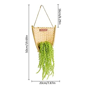 Waroomss Wall Hanging Flower Pot, Bamboo Woven Simulated Potted Plant Wall Art Garden Decoration Indoor Outdoor Watering Hanging Basket with Artificial Flower. by Waroomss