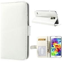 Samsung Galaxy S5 S5 Neo Funda Libro de NICA, Carcasa con Tapa Ultra-Fina Flip-Case Book-Cover, Cubierta Cuero Sintético Vegan Protectora Bumper para Telefono Movil Samsung S5 Neo S5 - Blanco