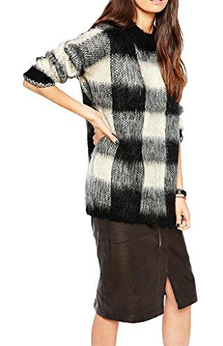 Smile YKK Sweat-shirt Imprimé Femme Sweat Manches Longues Col Rond Automne Hiver Carreaux Multicolore