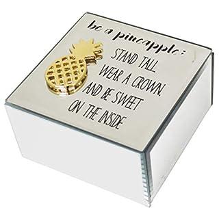 Maison Des Cadeaux New Funky Pineapple Silver Glass Organiser Make Up Case Jewellery Earring Trinket Box (AR35)