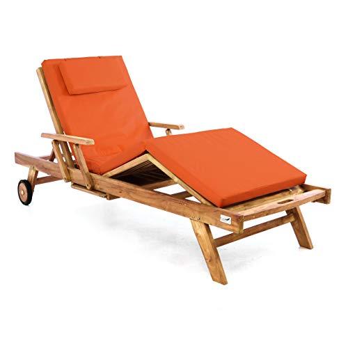 Divero Sonnenliege Holzliege Gartenliege Teak-Holz behandelt mehrfach verstellbar inkl. Räder Tablett + Liegen-Auflage 4-teilig wasserabweisend orange -