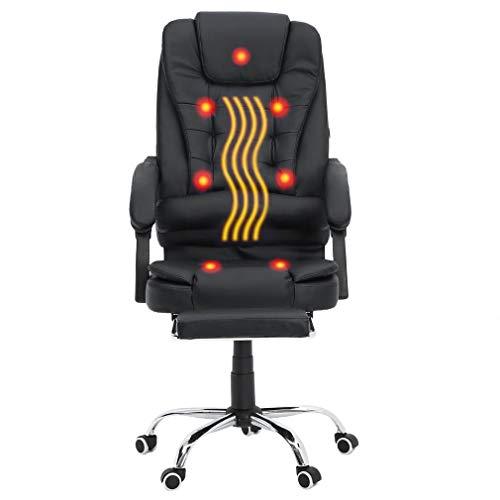 Homgrace Massage Bürostuhl Massagesessel Drehstuhl Chefsessel Computerstuhl Liegestuhl Racing Stuhl mit Massagefunktion / 155° Einstellbarer Rückenlehne/Ausziehbarer Fußablage, Schwarz