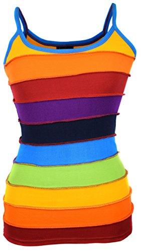 Damen Colorful Rainbow Hippie-Weste Tank Top Gr. Medium, Mehrfarbig - Regenbogenfarben (Tank Damen Rainbow Top)