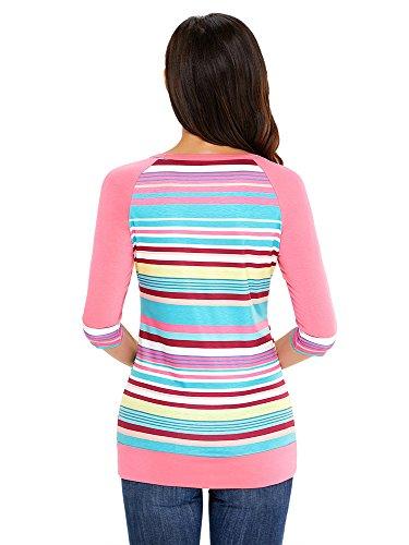 Cnfio Damen 3/4 Ärmeln Muster Buntes Gestreiftes Loose Tops mit Tasche T-Shirt Bluse Rosa