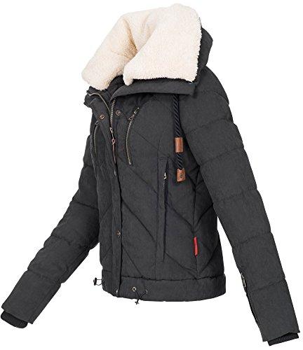 Navahoo Damen Designer Winter Jacke warme Winterjacke Steppjacke Teddyfell B605 Schwarz