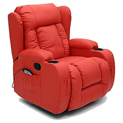 Caesar 10 In 1 Winged Leather Recliner Chair Rocking Massage Swivel Heated Gaming Armchair by More4Homes