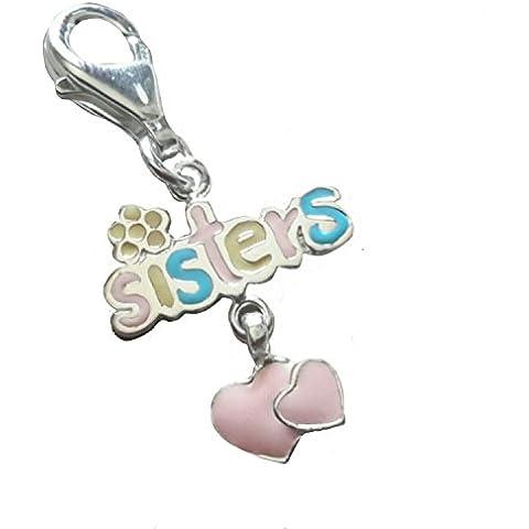SISTERS con cuori, colore: Rosa, Clip-On, in argento Sterling, ciondolo con messaggio, Script/Sentiment/Inspirational Charm - Inspirational Cuore