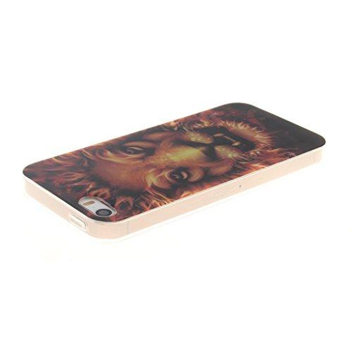 """SsHhUu iphone 5 Coque, Beau Fleur Ultra Slim Doux TPU Silicone Protecteur Painting Art Étui Housse Case Cover Pour Apple iphone 5 5S SE (4.0"""") Flame Lion"""
