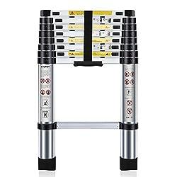 Nestling® Multi-Purpose Folding Extensionable Telescopic Aluminium Ladder (2.6/2.9/3.2/3.8M Foldable) (2.6m)
