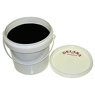 DELARA 500 ml hochwertiges Lederfett, Farbe: Schwarz, mit Schwamm zum Auftragen und Poliertuch, zur Pflege von Schuhen, Taschen, Reitsätteln und Möbeln aus Leder – Made in Germany