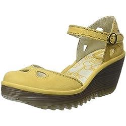 Fly London Yuna, Zapatos de tacón con Punta Cerrada para Mujer, Amarillo (Bumblebee 145), 38 EU