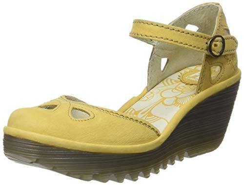 Zapatos amarillos de tacón ancho con Punta Cerrada para Mujer