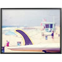 Stupell Home Decor Collection Tabla de Surf de Playa fotografía de tamaño Grande con Marco Giclée