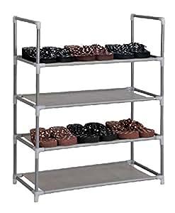 schuhregal f r 12 paar schuhe 60x29x73cm elegante verbindung von stahl und stoff. Black Bedroom Furniture Sets. Home Design Ideas