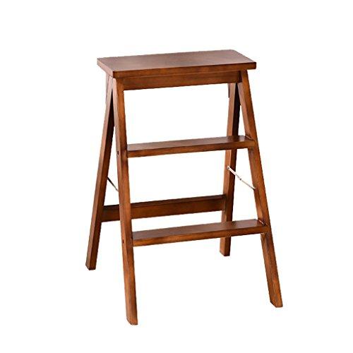 Folding Step Hocker Haushalt Multifunktions Tragbare 3 Schritte Leiter Küche Stuhl Holz Bar Zähler Hohen Stuhl 3 Farben Optional (Farbe : Nussbaum) -