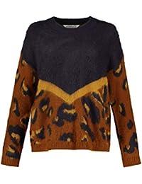 Studio Untold Haariger Leo Patch-Pullover Pull Femme