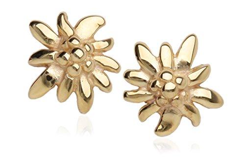 MyGold Edelweiß-Ohrstecker Stecker Ohrringe Gelbgold 585 Gold ohne Steine 8mm x 7mm Blume Trachtenschmuck Goldstecker Mädchen Frauen Golden Edelweiss V0013292
