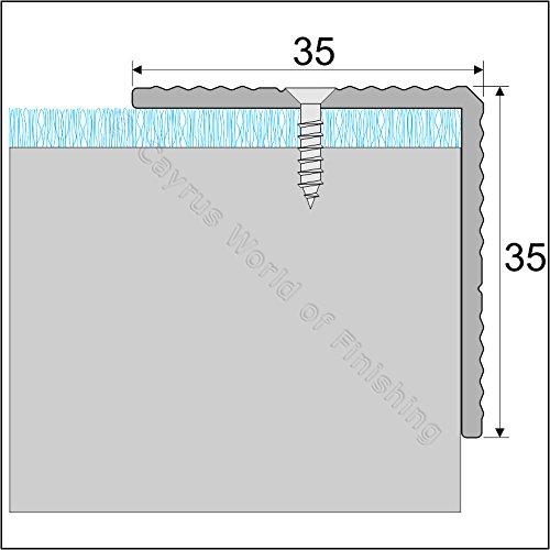 SELF ADHESIVE ALUMINIUM ANTI NON SLIP STAIR EDGE NOSING -EDGING TRIM- 35 x 35mm A34 (Anodised Silver)