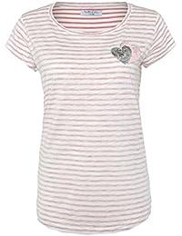 Sublevel Damen Streifen T-Shirt mit Pailletten-Herzen & Stickerei   Gestreiftes Shirt IM Maritimen Look