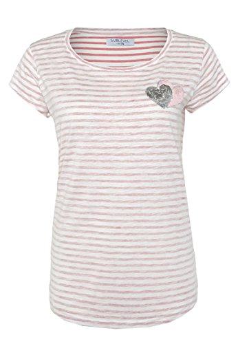 Sublevel Damen Streifen T-Shirt mit Pailletten-Herzen & Stickerei | Gestreiftes Shirt IM Maritimen Look Dark-Rose M (Herz Damen-t-shirt)